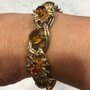 Gorgeous Vintage Gold & Topaz Colored Bracelet